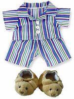 Teddy Bear Clothes fit Build a Bear Teddies Stripe Pyjamas & Teddy Bear Slippers