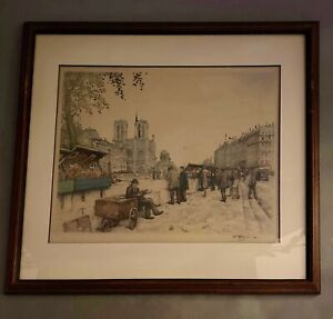 TAVIK FRANTISEK SIMON framed etching Paris Street Vendors - Hudson's Detroit Tag