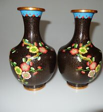 "Chinese Black Cloisonne Set of 2 Mirror Image Vases Blossoms 8"" High"