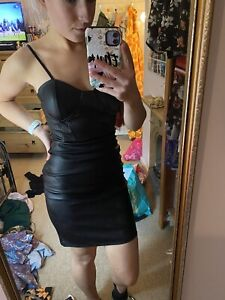 Vintage Faux Leather Mini Dress With Wire Cup And Padding Size Medium