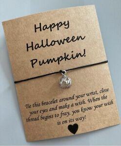 🎃Happy Halloween Pumpkin Cute Friendship Wish Charm bracelet Gift 🎃