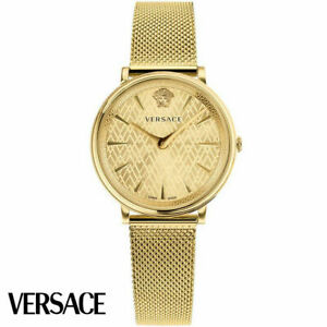 Versace VE8100619 V-Circle Lady gold Stainless Steel Women's Watch NEW