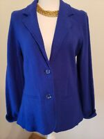 Chicos Womens Blue 2 Button Wool  Blend Unlined Blazer Jacket Size 0 S 4