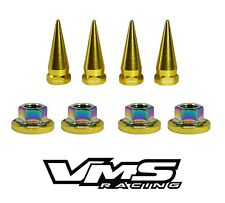 4 VMS RACING STRUT TOWER SPIKES + GOLD WASHERS & NEO CHROME NUTS FOR HONDA