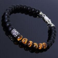 Mens Women Matte Black Onyx Bracelet 925 Sterling Silver French Fleur de Lis 190