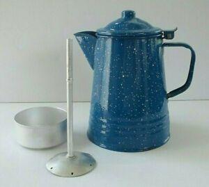 Vtg Blue Graniteware Speckled Enamel 8 Cup Camping Percolator Coffeepot
