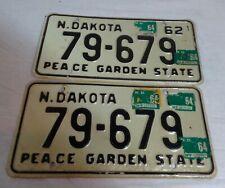 1962 North Dakota Automobile License Plates Matching Pair