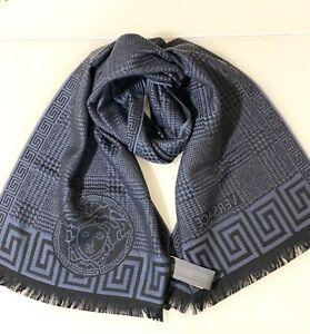 New! Authentic! Versace Men's Logo 100% Wool Scarf Gray/Black