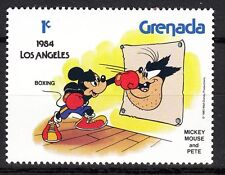 TIMBRE NEUF  WALT DISNEY  MICKEY BOXE CONTRE PETE  LOS ANGELES 1984