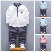 2PCS Toddler Baby Kids Boys Shirt Tops+Long Pants Clothes Gentleman Outfits Set