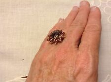 Large  Estate 10K Yellow Gold Rhodolite Garnet Ring 5.2 Grams Size 7