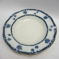 B&S Lowestoft Porcelain Blue/Black Floral Embossed Plate Bowl w/ Gold Edge 10.5""