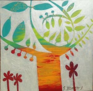 SUE BETTS Abstract Painting   'Quirky Tree'   90cmx90cm