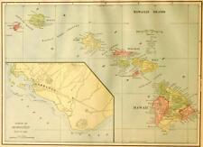 Beautiful Original 1899 Hawaii Hawaiian Islands Large Color Map/10x14