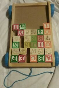 Wooden Alphabet and Numbers  Blocks with Wooden Wagon