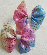 Pair Of Rainbow Hair Bow Bobbles Girls Kids Cildren Hair Accessories