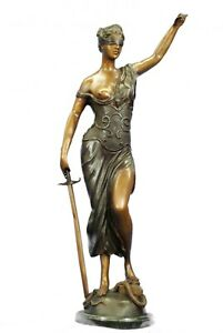 Solid Bronze Metal Statue with Marble Lady Blind Justice Scales Lawyer Sculpture