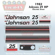 1982 Johnson 25 HP Electric Start Sea-Horse Outboard Reproduction 14 Pc Decals