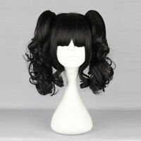 Daily Style Lolita Short Black Hair Cosplay Wig With Curly Ponytails Fancy Party