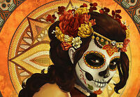 """Framed Print - Voodoo """"Day of the Dead"""" Woman (Gothic Horror Picture Art)"""