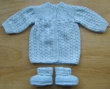Handknitted Pale Blue Baby coat & bootees - Newborn size