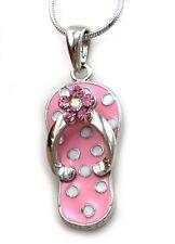 Cute Pink Sandal Flip Flop Polka Dot Pendant Necklace