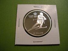 1985 Canada 20 Dollar .925 Silver - 1988 Calgary Olympics - Downhill Skier