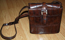 Vintage JOAN & DAVID brown ALLIGATOR LK LEATHER Box purse satchel cross body bag