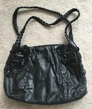 Large Black Next Flower Trimmed 2 Handle Handbag VGC