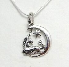 Sterling silver Unicorn on Moon with star necklace 18 inch chain 925 jewellery