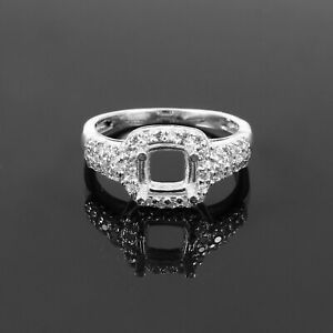 Semi Mount Ring 925 Sterling Silver Jewelry Setting Size 6X6 MM Cushion Square