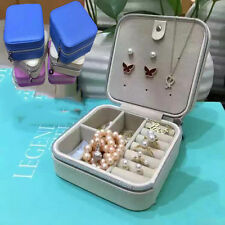 Fashion Simple Jewelry Box white Leather Ring Storage Case Necklace Holder New