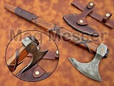 Wikinger Axt Damast Stahl mit Scheide handgeschmiedet Mittelalter Axt