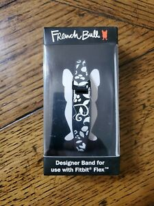 French Bull Designer Bands for Fitbit Flex Black /White With Chrome Clasp
