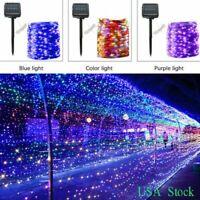 100 LED Solar Waterproof Fairy String Light Copper Wire Outdoor Garden Decor USA