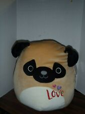 """Squishmallow Kellytoy  Pam The  Brown Pug 16"""" Soft Cuddle Squishy NEW TAGS"""