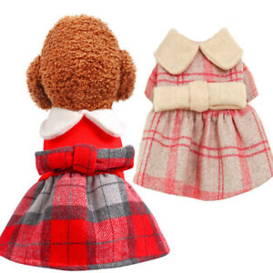 Classic Pet Dog Plaid Coat Winter Warm Doggie Puppy Cat Dress Small Dogs Outfit