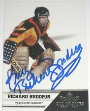 RICHARD BRODEUR SIGNED 10-11 PANINI ALL GOALIES VANCOUVER CANUCKS CARD AUTOGRAPH