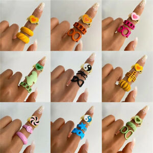 Geometric Ring Set Colorful Metal Transparent Resin Acrylics Trendy Jewelry gift