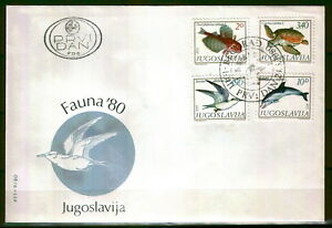 1836 - Yugoslavia 1980 - Sea Life -Birds - Fish - FDC