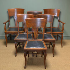 Furniture Set 6 Edwardian Antique Solid Carved Mahogany Upholstered Dining Kitchen Chairs Quality First