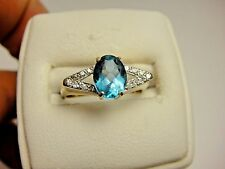Vintage Blue Topaz & Genuine White Diamond Cocktail 14k Yellow Gold Estate Ring