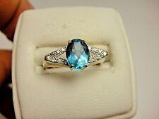 Vintage Blue Topaz & Genuine White Diamond Cocktail 14k Yellow Gold Estate Ring
