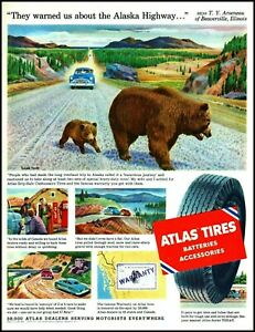 1954 Brown bears Alaska highway Atlas car tires vintage art Print Ad   adL21