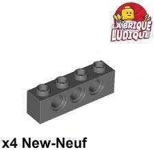Lego Technic - 4x Brique Brick 1x4 hole gris foncé/dark bluish gray 3701 NEUF