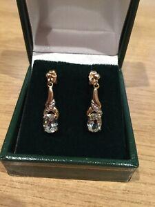 9ct yellow gold Aquamarine and diamond set drop earrings - NEW