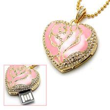 16Go USB 2.0 Clé USB Clef Mémoire Flash Data Stockage / Coeur Rose Pendentif