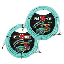 2 Pack Pig Hog 20' Right Angle Vintage Woven Instrument Guitar Cable 20ft - NEW