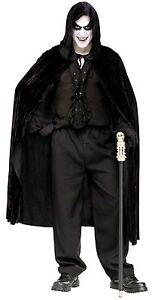 """Black Velvet Cape Hooded Evil Reaper Costume Count Mens Adult Vampire 68"""" Long"""