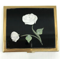 Powder Compact Embedded White Rose in Lucite 3D c1950s Puff Sifter Unused Vtg